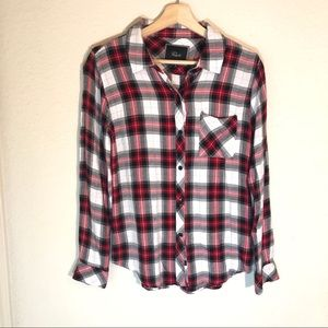 Rails Plaid Button Down Red White Black XS X-Small